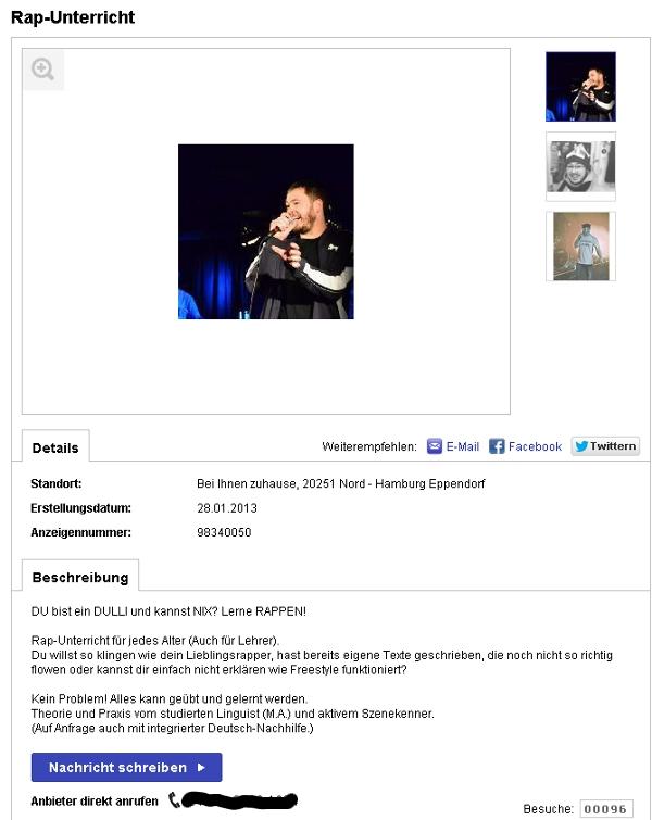Rap Unterricht in Hamburg Eppendorf